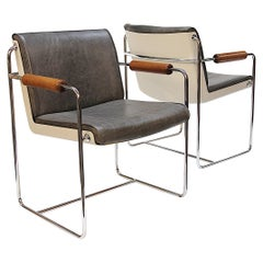 Rare Pair of Mid-Century Modern Fiberglass and Gray Leather Shell Lounge Chairs