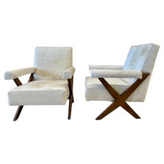 Rare Pair of Mid-Century Modern Pierre Jeanneret Upholstered Lounge Chairs