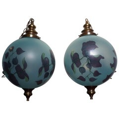Rare Pair of Midcentury Made Glass Globe Pendant Lights with Jugendstil Flowers
