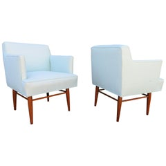 Rare Pair of Milo Baughman for Arch Gordon Walnut Armchairs Mid-Century Modern