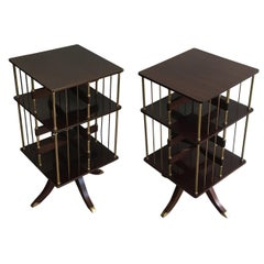 Rare Pair of Neoclassical Mahogany and Brass Revolving Bookcases