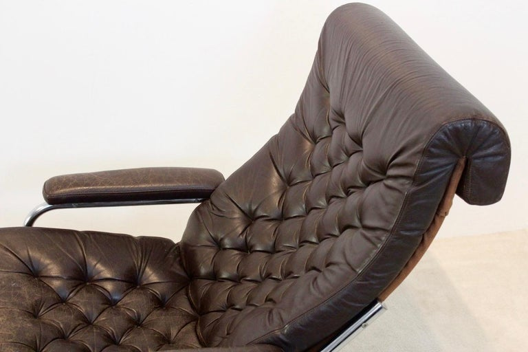 Rare Pair of Noboru Nakamura 'Bore' Leather Lounge Chairs with Footstool, 1970s For Sale 3