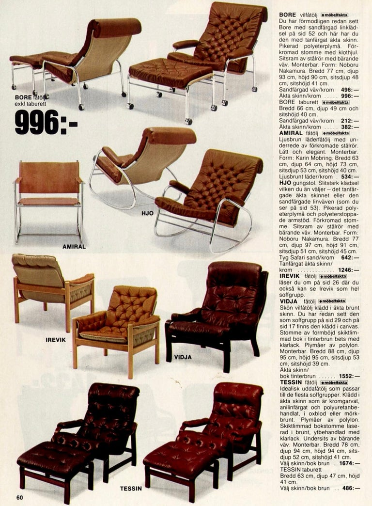 Rare Pair of Noboru Nakamura 'Bore' Leather Lounge Chairs with Footstool, 1970s For Sale 4