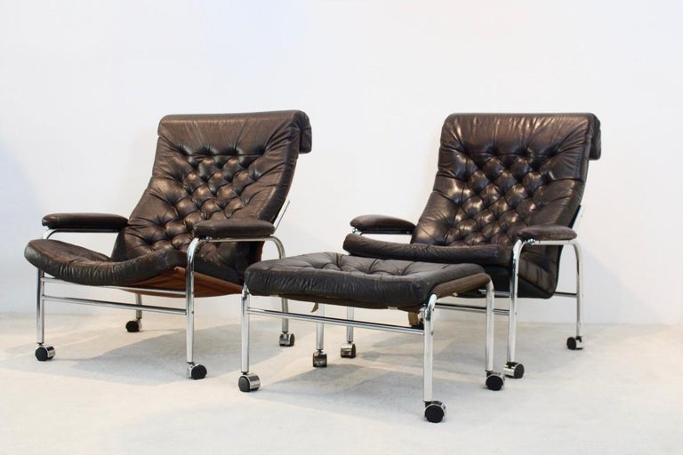 Rare Pair of Noboru Nakamura 'Bore' Leather Lounge Chairs with Footstool, 1970s For Sale 7