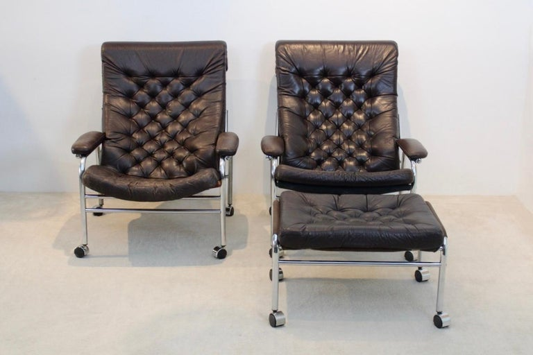 Swedish Rare Pair of Noboru Nakamura 'Bore' Leather Lounge Chairs with Footstool, 1970s For Sale