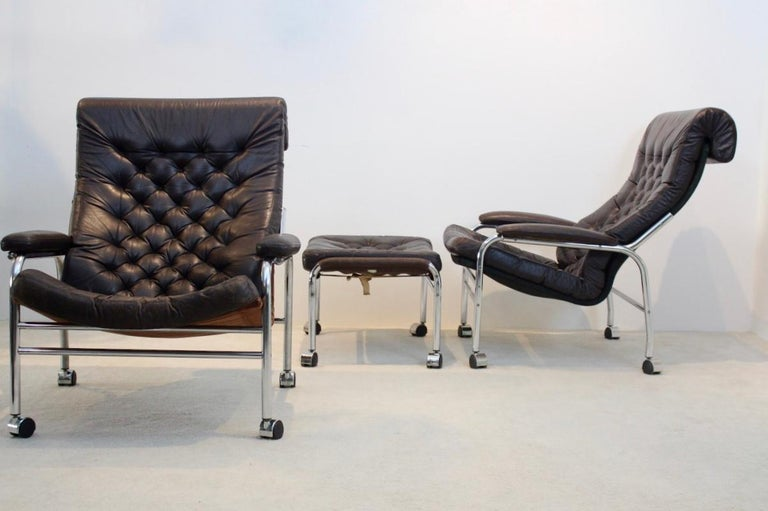 20th Century Rare Pair of Noboru Nakamura 'Bore' Leather Lounge Chairs with Footstool, 1970s For Sale