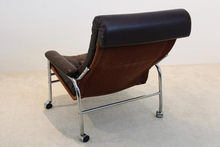 Rare Pair of Noboru Nakamura 'Bore' Leather Lounge Chairs with Footstool, 1970s For Sale 1