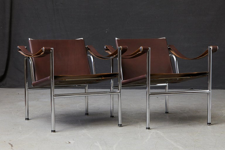 Rare Pair of Original Le Corbusier 'Corbu' Chairs 'LC1', from Wohnbedarf 1960s In Good Condition In Weston, CT