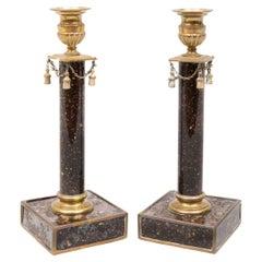 Rare Pair of Ormolu Mounted Swedish Faux Porphyry Candlesticks, E. 19th Century