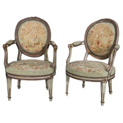 Rare Pair of Paint Decorated 1870s French Louis XVI Aubusson Fauteuils Armchairs