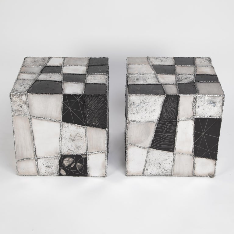 This pair of Paul Evans side tables is a rare and outstanding example of the Pennsylvania artist's