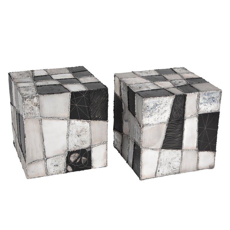 """Rare Pair of Paul Evans """"Argente"""" Side Tables, circa 1960s For Sale"""