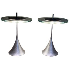 Rare Pair of Philips Space Age Glass and Brushed Chrome Table Lamps