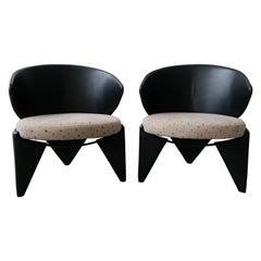 Rare Pair of Postmodern 3-Leg Italian Leather Chairs by Saporiti