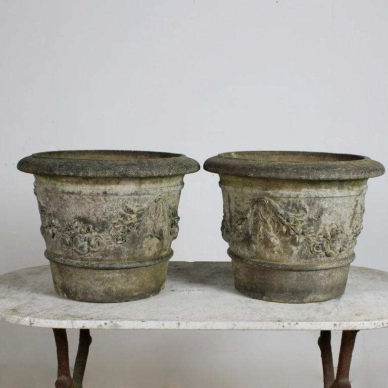 British Rare Pair of Pulham of Broxbourne Terracotta Garden 'Cirencester' Pots For Sale