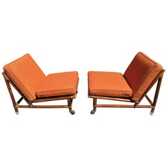Rare Pair of Rattan Slipper Campaign Chairs by John Wisner for Ficks Reed