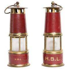 Rare Pair of Red Hermes Leather Lantern Lamp Attributed to Paul Dupré-Lafon