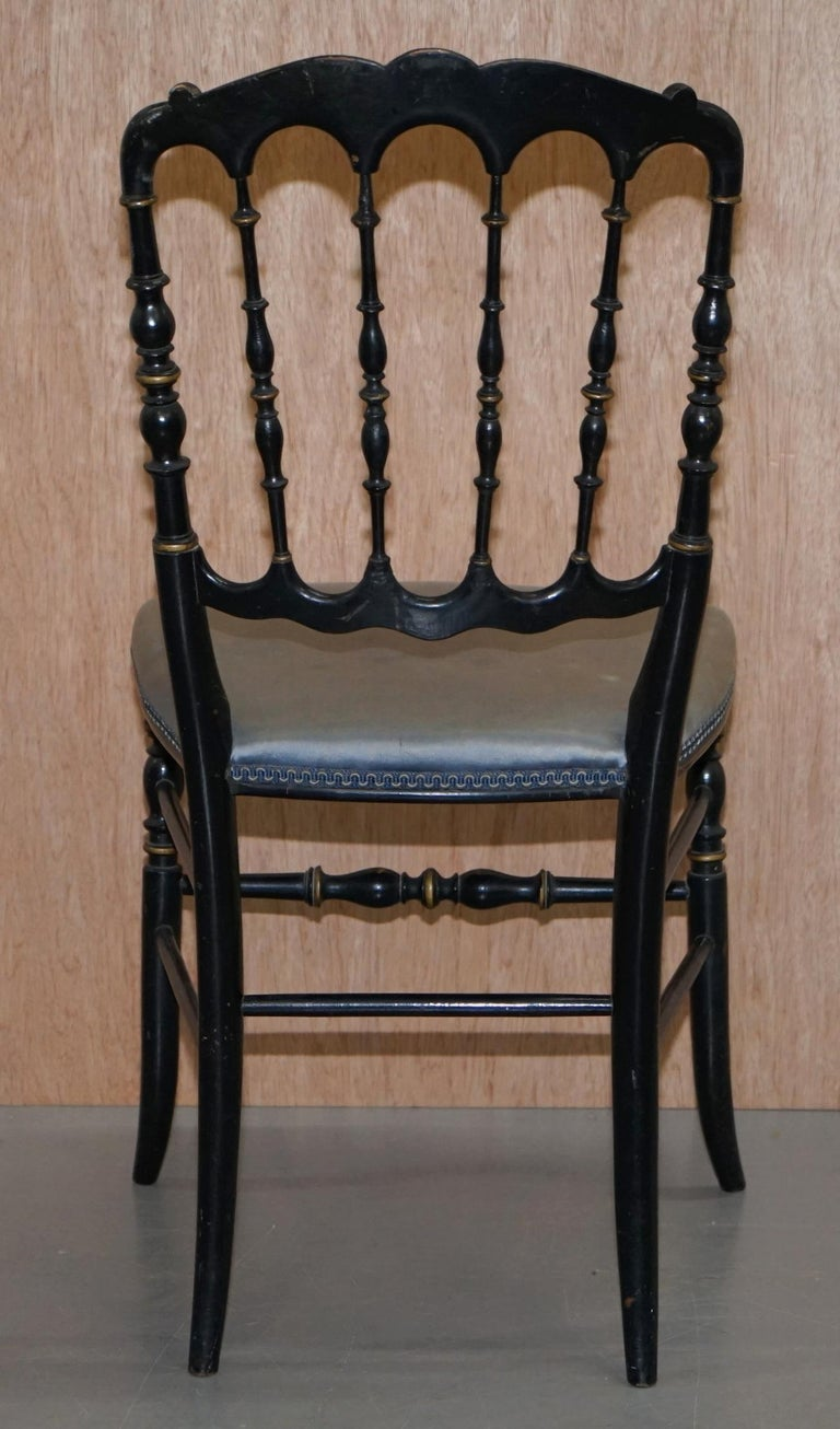 Rare Pair of Regency Floral Hand Painted Ornate Chinoiserie Ebonized Chairs For Sale 4