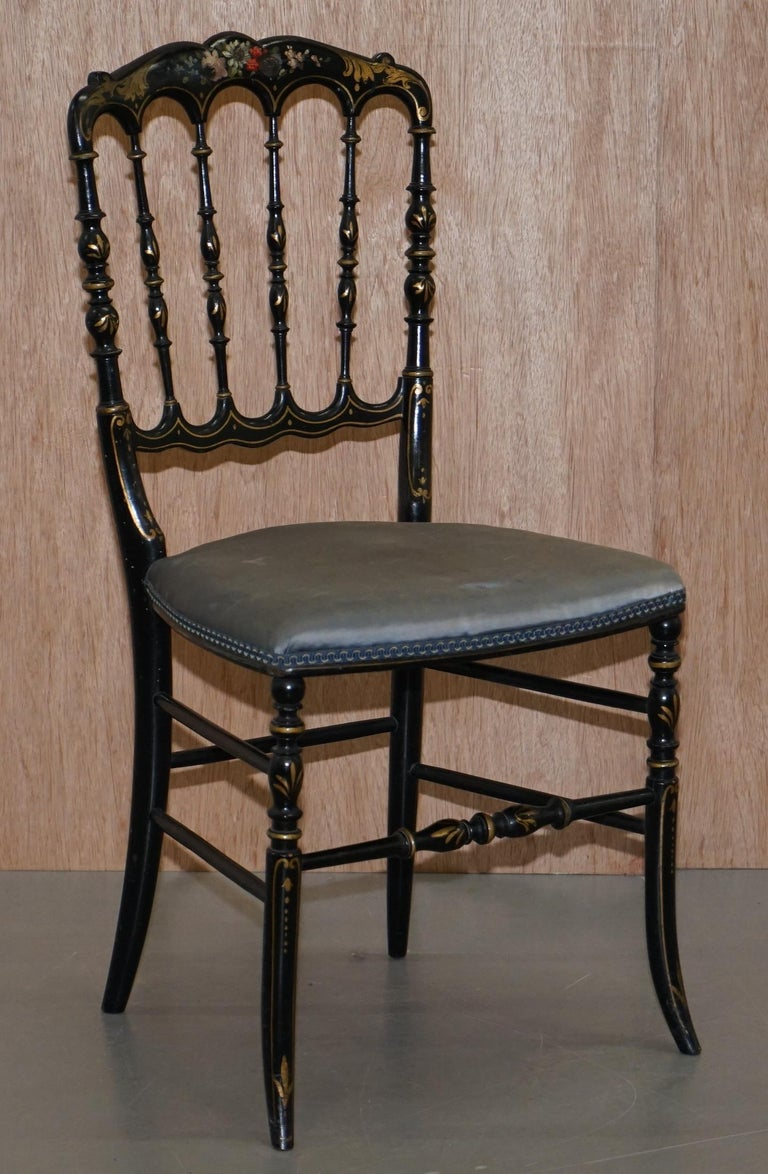 Rare Pair of Regency Floral Hand Painted Ornate Chinoiserie Ebonized Chairs For Sale 7