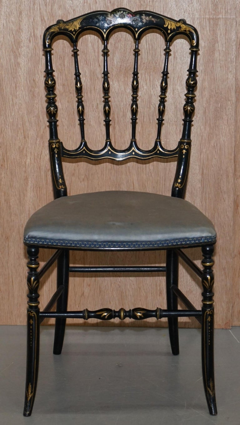 Rare Pair of Regency Floral Hand Painted Ornate Chinoiserie Ebonized Chairs For Sale 8