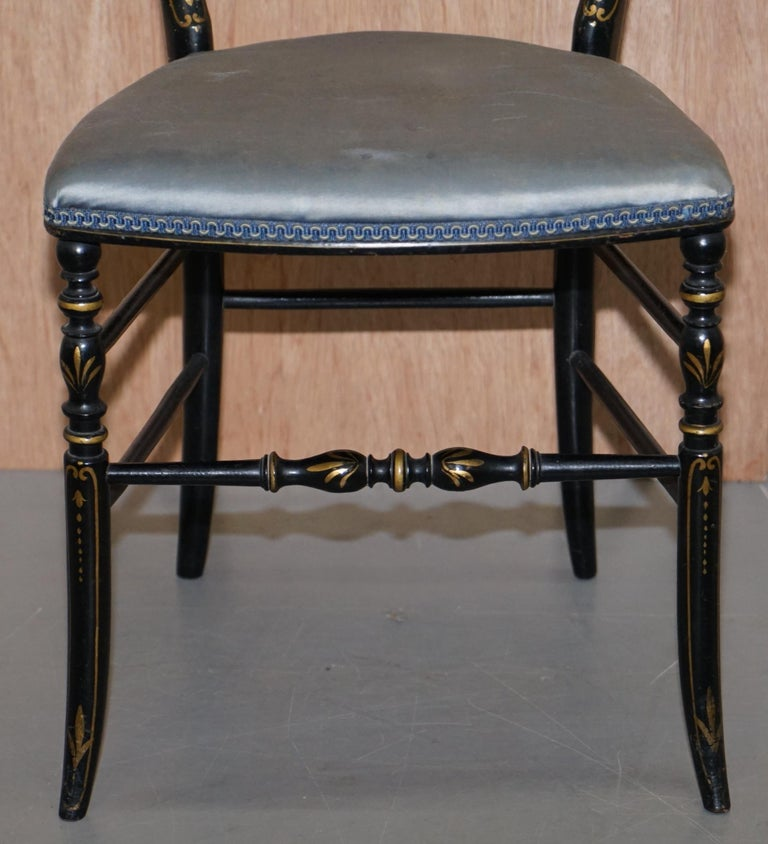 Rare Pair of Regency Floral Hand Painted Ornate Chinoiserie Ebonized Chairs For Sale 12