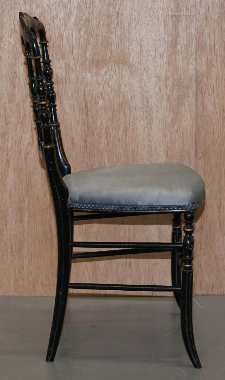 Rare Pair of Regency Floral Hand Painted Ornate Chinoiserie Ebonized Chairs For Sale 13