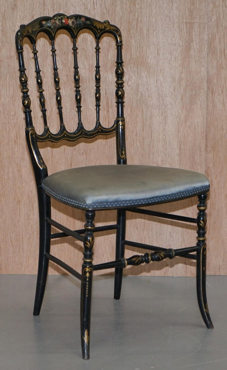 We are delighted to this lovely pair of early 19th century Regency chinoiserie ebonized occasional chairs   I absolutely love these chairs, they are very rare, the paintwork is nicely faded and worn as you would expect for a piece over 200 years