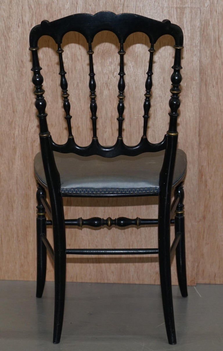 Rare Pair of Regency Floral Hand Painted Ornate Chinoiserie Ebonized Chairs For Sale 14