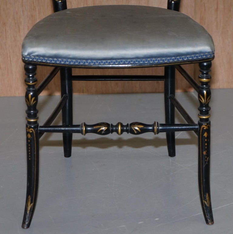 Rare Pair of Regency Floral Hand Painted Ornate Chinoiserie Ebonized Chairs For Sale 1