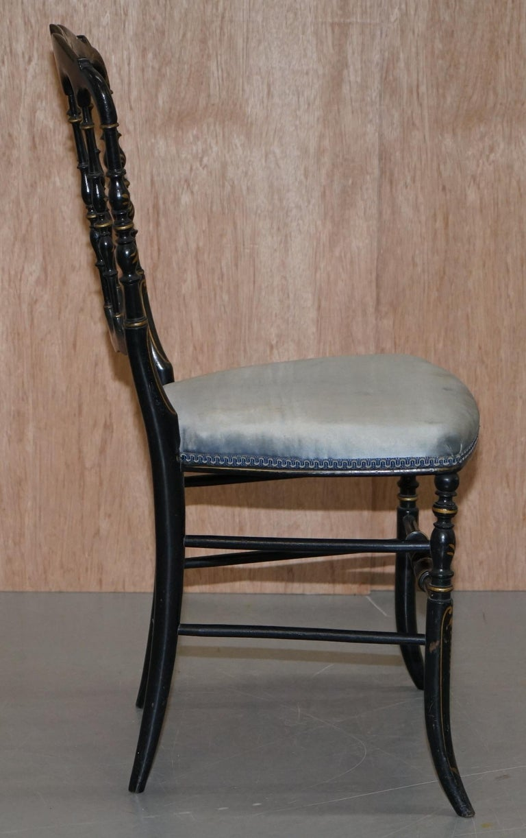 Rare Pair of Regency Floral Hand Painted Ornate Chinoiserie Ebonized Chairs For Sale 3