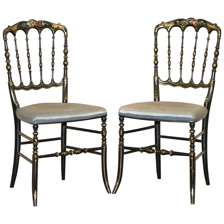 Rare Pair of Regency Floral Hand Painted Ornate Chinoiserie Ebonized Chairs For Sale