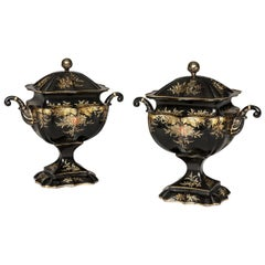 Rare Pair of Regency Period Tole Chestnut Urns