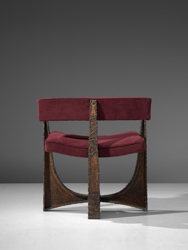 Rare Pair of Reupholstered Armchairs in Burgundy Mohair by Paul Evans 3