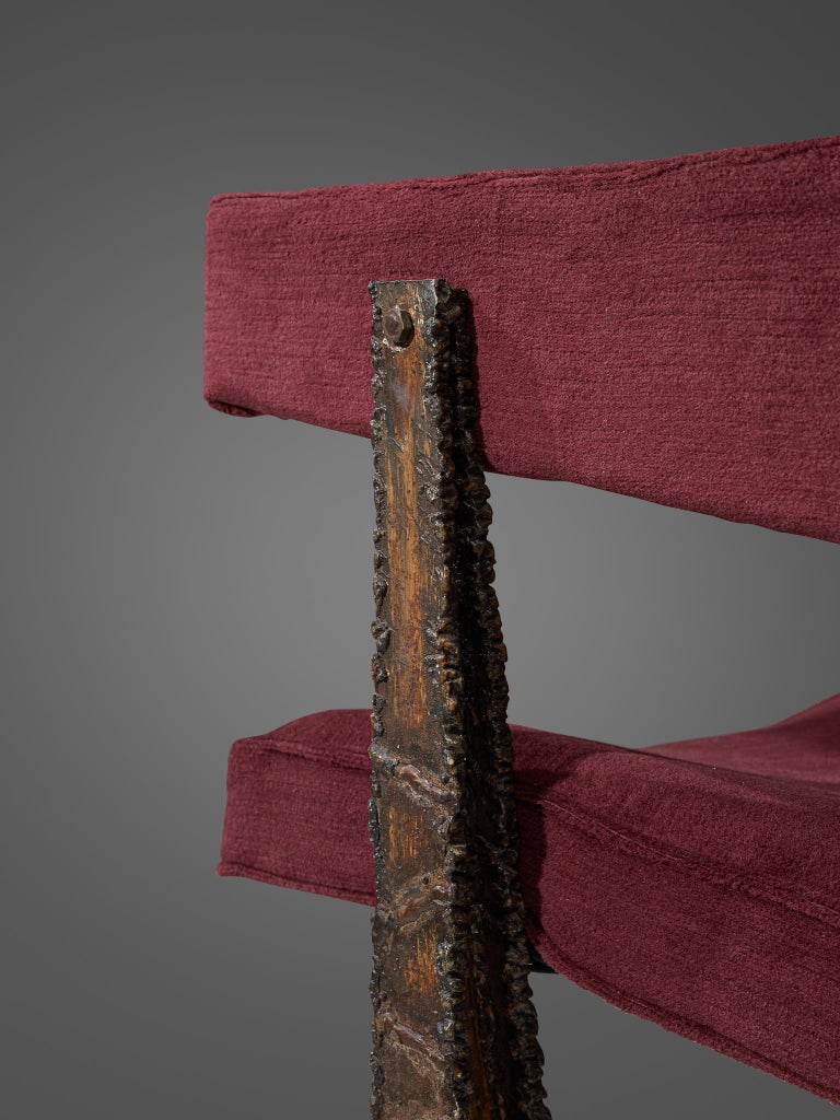 Rare Pair of Reupholstered Armchairs in Burgundy Mohair by Paul Evans 5
