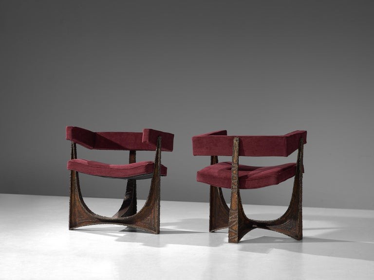 Mid-Century Modern Rare Pair of Reupholstered Armchairs in Burgundy Mohair by Paul Evans