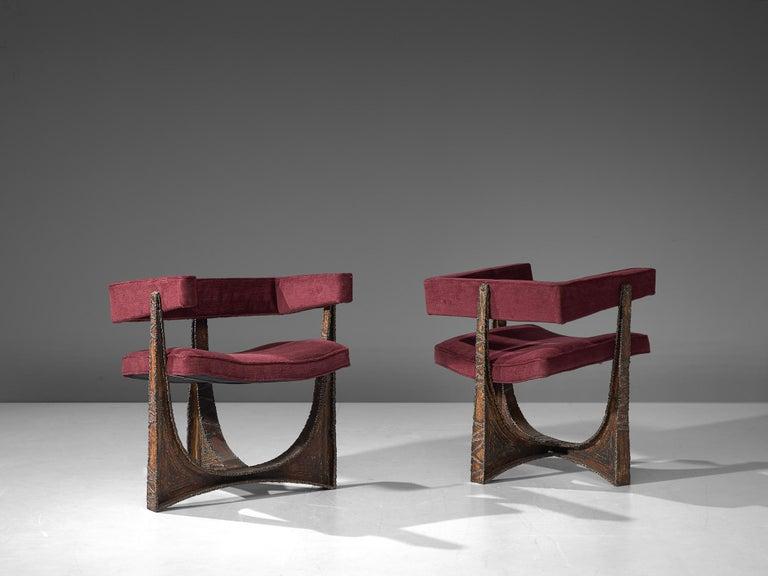 American Rare Pair of Reupholstered Armchairs in Burgundy Mohair by Paul Evans