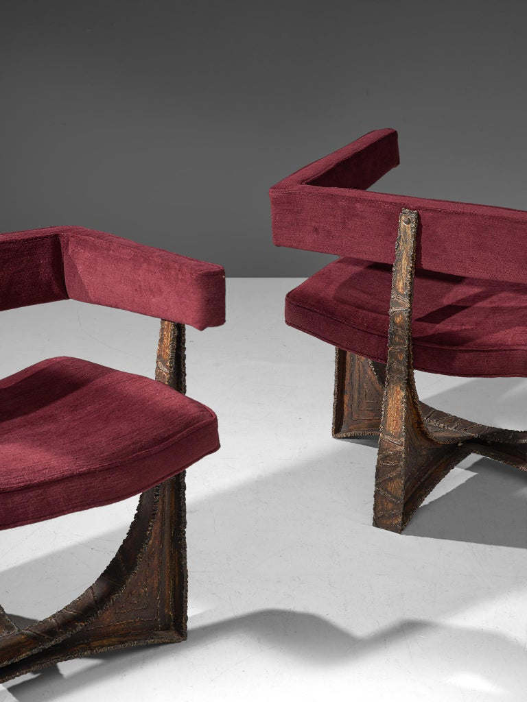 Mid-20th Century Rare Pair of Reupholstered Armchairs in Burgundy Mohair by Paul Evans