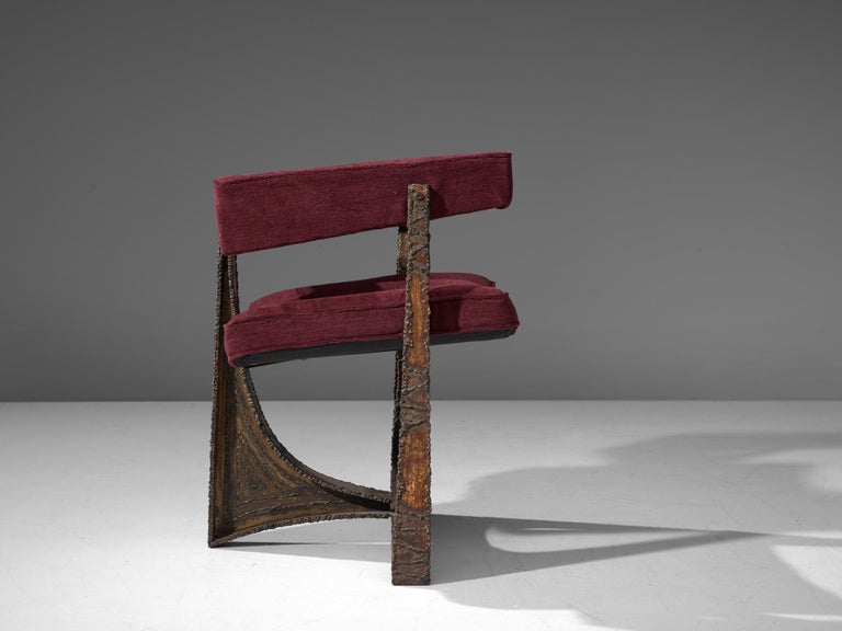 Steel Rare Pair of Reupholstered Armchairs in Burgundy Mohair by Paul Evans