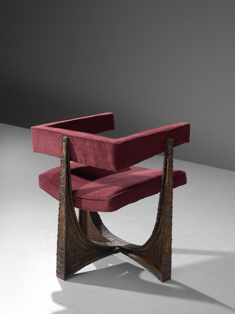 Rare Pair of Reupholstered Armchairs in Burgundy Mohair by Paul Evans 2