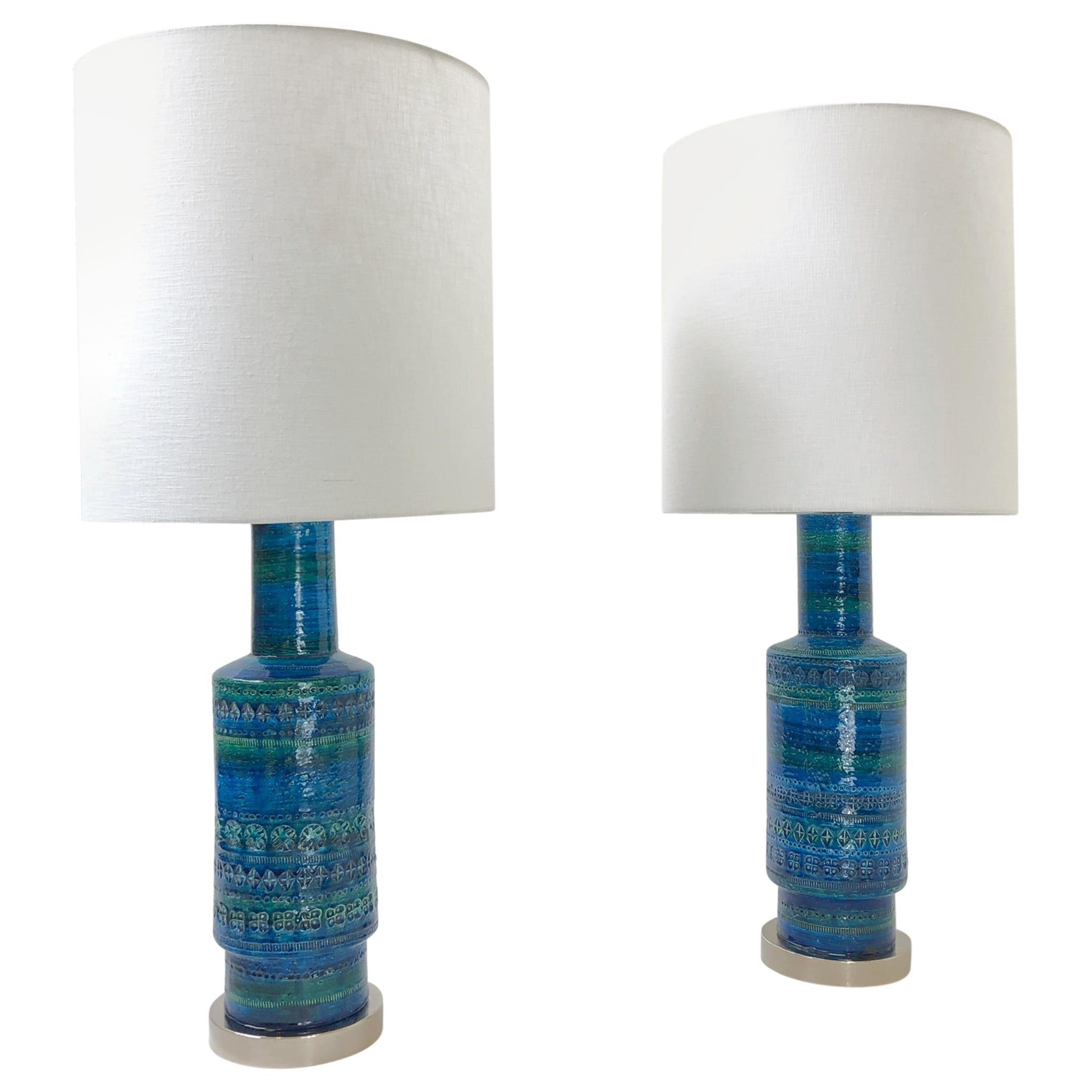 Rare Pair of Rimini Blue Italian Ceramic and Nickel Table Lamps by Bitossi
