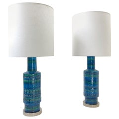 Rare Pair of Rimini Blue Italian Ceramic and Nickel Table Lamps by Bitossi