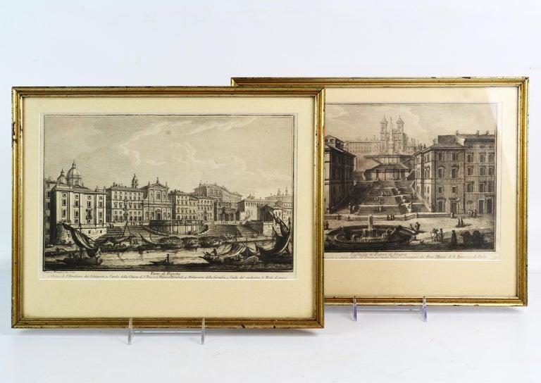 These engravings depict 'Porto di Ripetta' and 'Scalinata in Piazza di Despagna', the port of Ripetta and the Spanish Steps, both in Rome. The engravings both bear the names of Giuseppe Vasi (1710 - 1782) and Giovanni Battista Piranesi (1720-1778),
