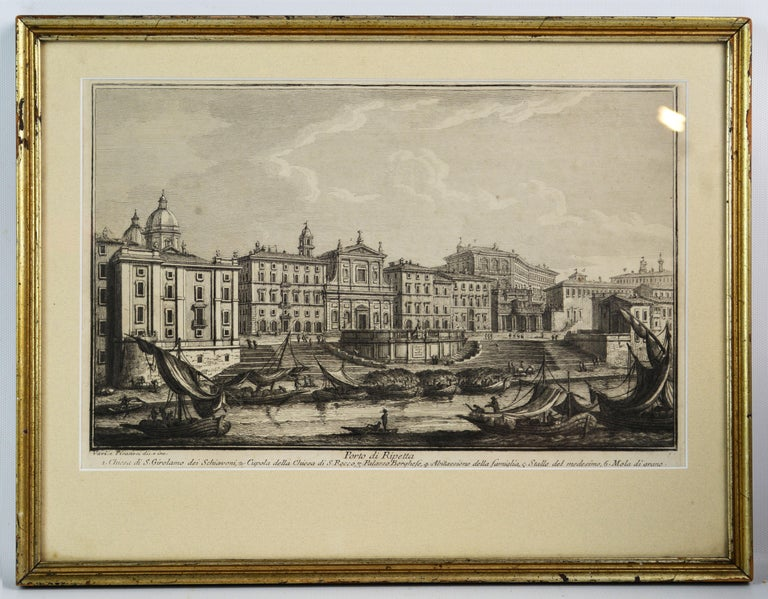 Baroque Rare Pair of Rome Prospects Engravings Signed Both Giuseppe Vasi and Piranesi