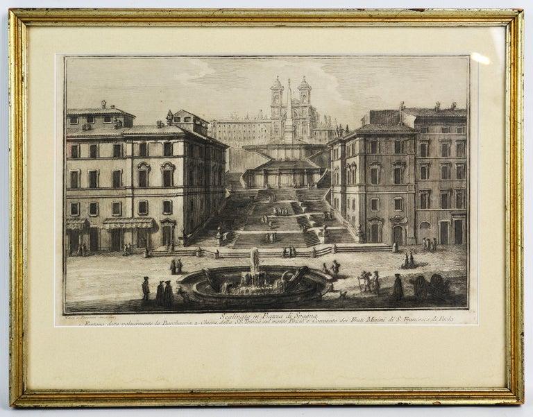 Italian Rare Pair of Rome Prospects Engravings Signed Both Giuseppe Vasi and Piranesi