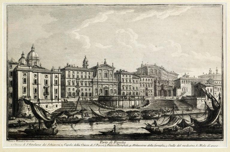 Gilt Rare Pair of Rome Prospects Engravings Signed Both Giuseppe Vasi and Piranesi