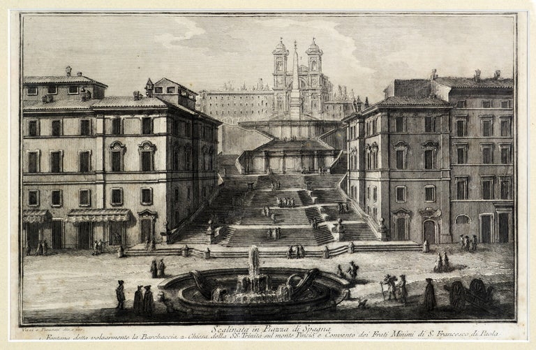Rare Pair of Rome Prospects Engravings Signed Both Giuseppe Vasi and Piranesi In Good Condition In Ft. Lauderdale, FL