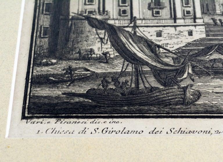 19th Century Rare Pair of Rome Prospects Engravings Signed Both Giuseppe Vasi and Piranesi