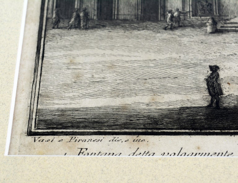 Paper Rare Pair of Rome Prospects Engravings Signed Both Giuseppe Vasi and Piranesi