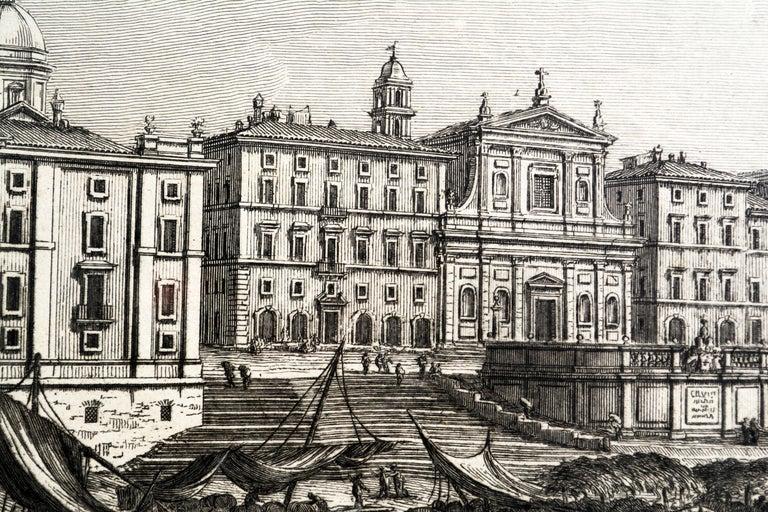 Rare Pair of Rome Prospects Engravings Signed Both Giuseppe Vasi and Piranesi 1