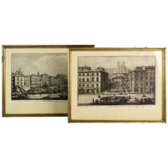 Rare Pair of Rome Prospects Engravings Signed Both Giuseppe Vasi and Piranesi
